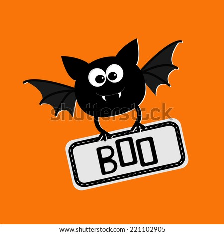 Cute bat with plate boo. Happy Halloween card. Flat design. Vector illustration - stock vector