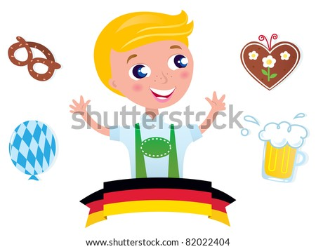 Cute bavarian Octoberfest male & icons isolated on white background Blond boy with traditional Octoberfest symbols. Vector Illustration. - stock vector