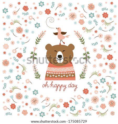 cute bear and little bird, vector illustration  - stock vector