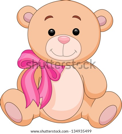 Cute bear cartoon sitting - stock vector