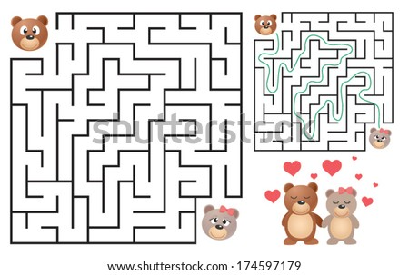 Cute Bear's Maze Game (help bear to find his love) Maze puzzle with solution. Vector illustration - stock vector