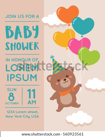 Cute Bear With Balloon Illustration For Baby Shower Invitation Card Design  Template