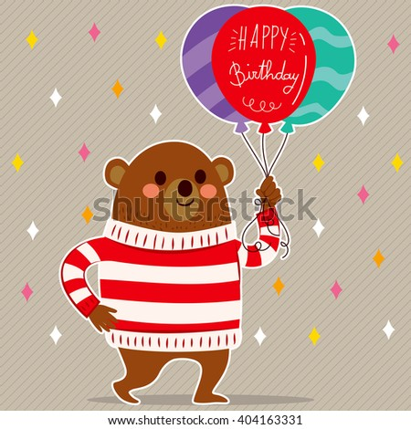 Cute bear with balloons and happy birthday text