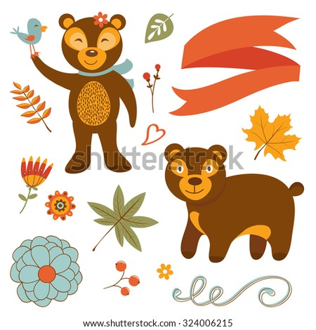 Cute bears colorful set with flowers leaves and twigs. Illustration in vector format - stock vector