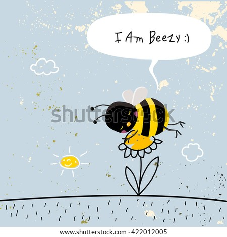 Cute bee sleeping on a flower, with speech balloon. Doodle style vector illustration.  - stock vector
