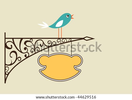 Cute bird and antique signboard, vector illustration - stock vector