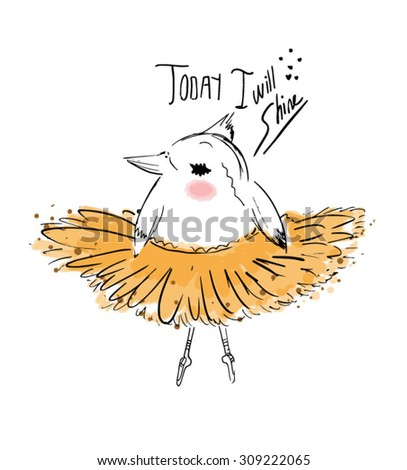 cute bird ballet - stock vector