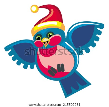 Cute bird in a Christmas hat - stock vector