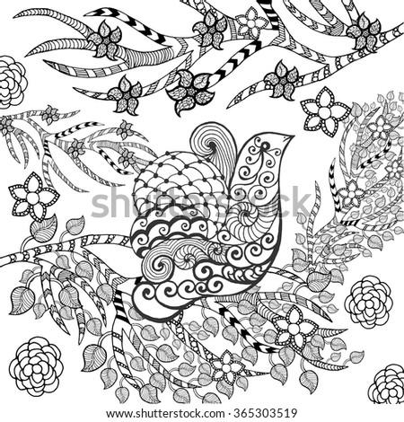 Cute Bird In Flower Garden Animals Hand Drawn Doodle Ethnic Patterned Illustration