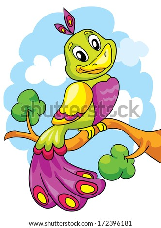 Cute bird on a branch, vector illustration on colored background - stock vector