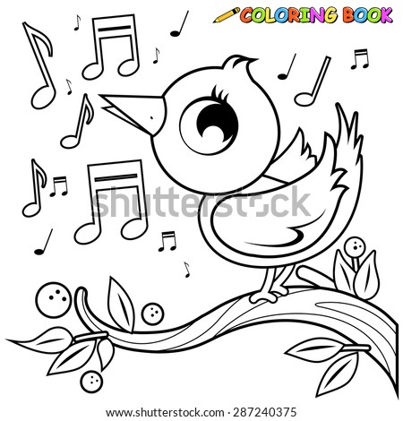 cute bird on branch singing coloring book page