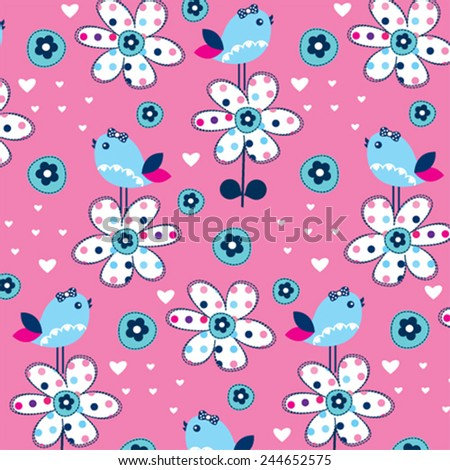 cute bird pattern with flower vector illustration - stock vector