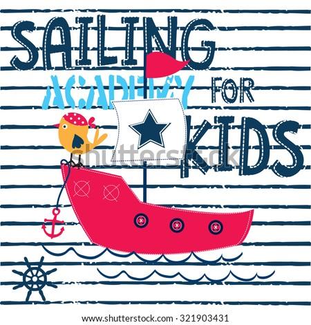 cute bird, sailing academy for kids vector illustration - stock vector