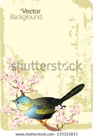 Cute bird sitting on blossom tree branch. Vector illustration. - stock vector