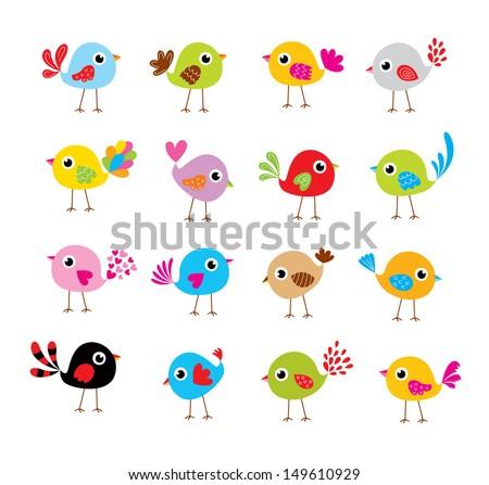 cute bird vector - stock vector