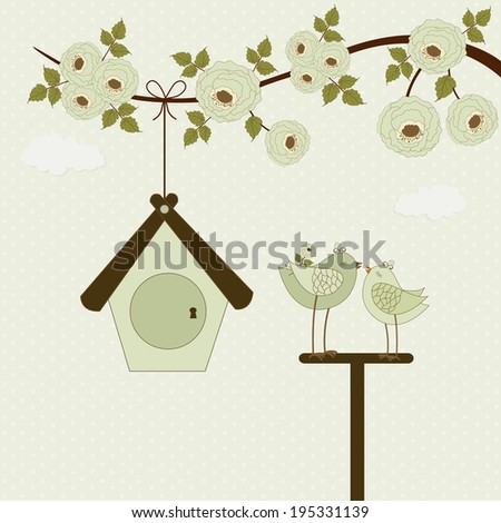 Cute birds and birdhouse on polka dots background - stock vector