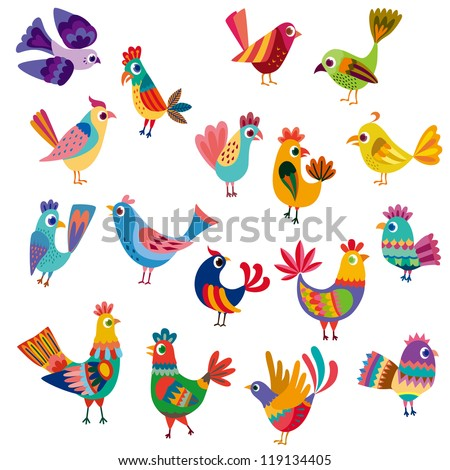 Cute birds and chicks - stock vector