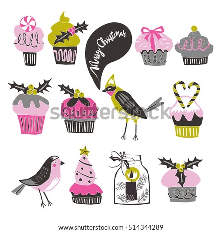 Cute Birds and Christmas Cupcakes. Print Design