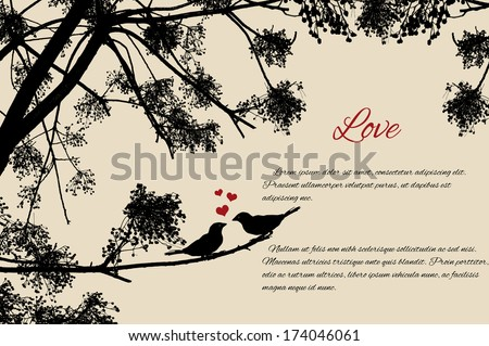 Cute birds couple loving each other on branch in retro style background, vector illustration - stock vector