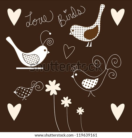 Cute Birds icons pink and white, collection set. - stock vector