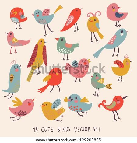 Cute birds in vector. Cartoon set - stock vector