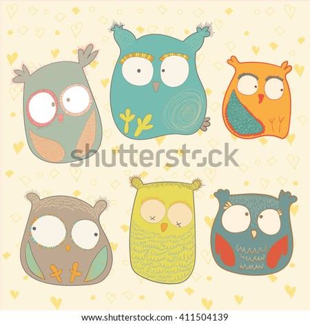 Big Set Cute Cartoon Sleepy Animals Stock Vector 560426059 ...