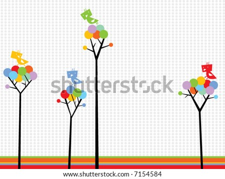 cute birds on color dots trees (vector) - stock vector