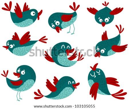 Cute birds set - stock vector