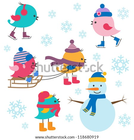 Cute birds winter. Vector set - stock vector