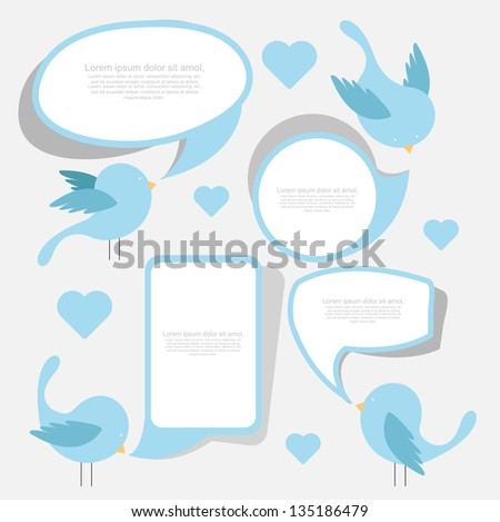 cute birds with chat boxes - stock vector