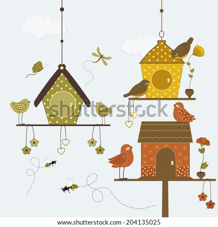 Cute birds with colorful birdhouse and butterflies, bees - stock vector