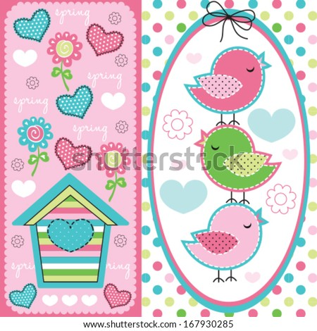 cute birds with spring pattern vector illustration - stock vector