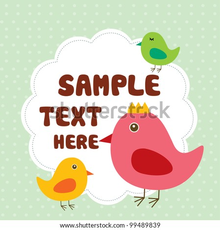 cute birds with text - stock vector