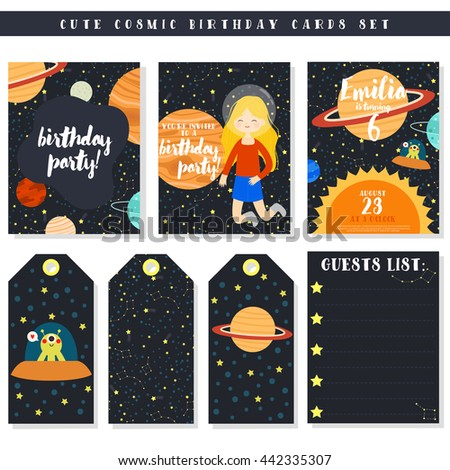Cute Birthday Cards Set Cartoon Girl Vector 442335307 – Space Party Invitations