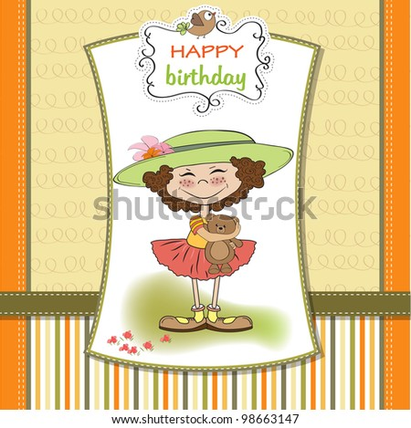 Cute Birthday Greeting Card Girl Her Vector 98663147 – Birthday Greeting for Her