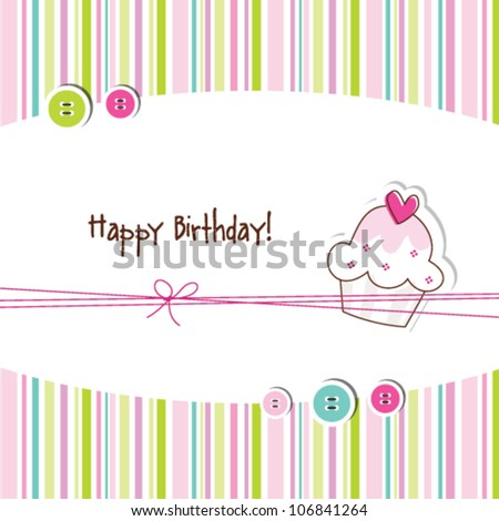 Cute Birthday Greeting Card With Stylish Colorful Stripe Background Simple Unique Design For