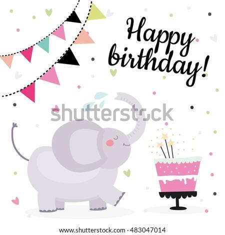 Cute Birthday Greeting Cards Design Elephant Stock Vector 483047014