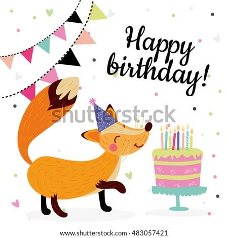 Cute Birthday Greeting Cards Design Fox Stock Vector 483057421
