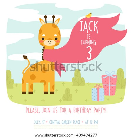 Cute Birthday Invitation Template With Cartoon Baby Elephant With Bird And  Presents On Grass Background.  Birthday Invitation Backgrounds