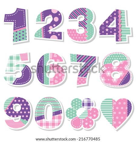 cute birthday numbers collection - stock vector
