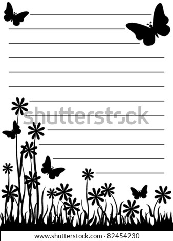 Cute black and white butterfly and flowers notepad. - stock vector