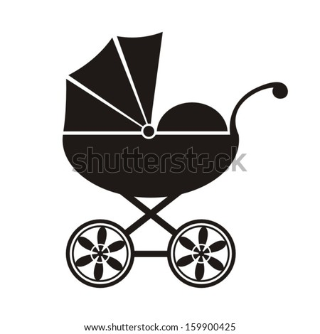 Cute black baby carriage icon on a white background - vector illustration - stock vector
