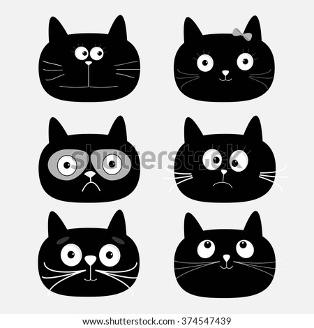 Cute black cat head set. Funny cartoon characters. White background. Isolated. Flat design. Vector illustration - stock vector