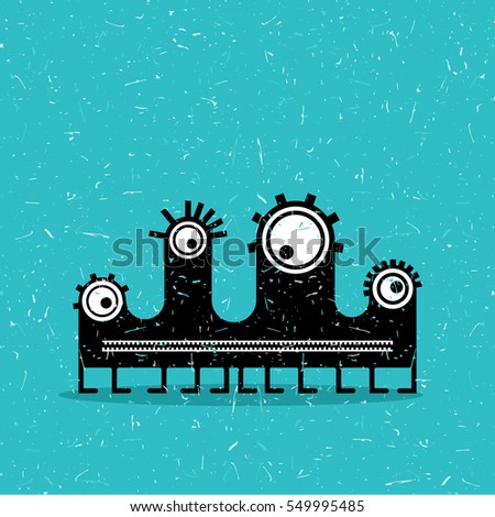 Cute black monster with emotions on grunge aqua blue background. cartoon illustration.