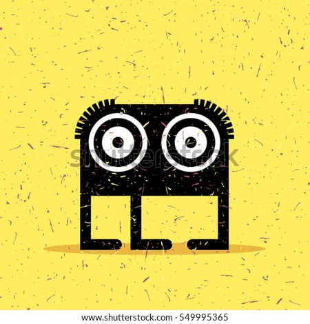 Cute black monster with emotions on grunge yellow background. cartoon illustration.