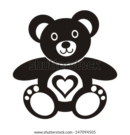Cute black teddy bear icon with heart on white background - stock vector