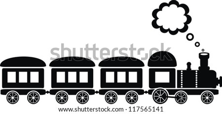 cute black train on white background - stock vector