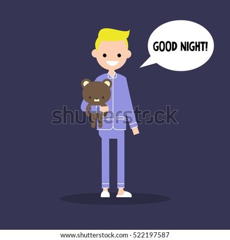 cute blond boy pajamas saying good stock vector hd (royalty free