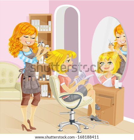 Cute blond girl in a beauty salon at the hairdresser - stock vector