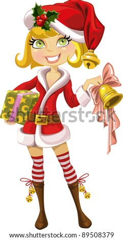 Cute blond girl in red Santa suit with Christmas bell